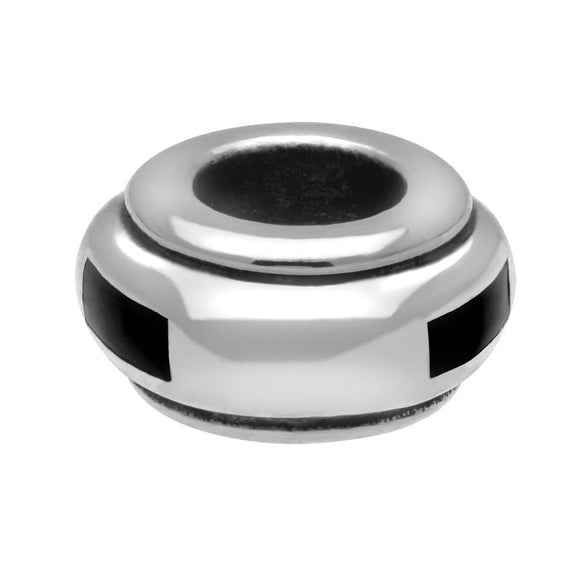 Sterling Silver Whitby Jet Inlaid Oblong Spacer Charm. G512.