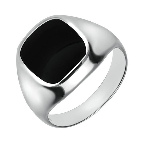 Sterling Silver Whitby Jet Large Cushion Signet Ring R180