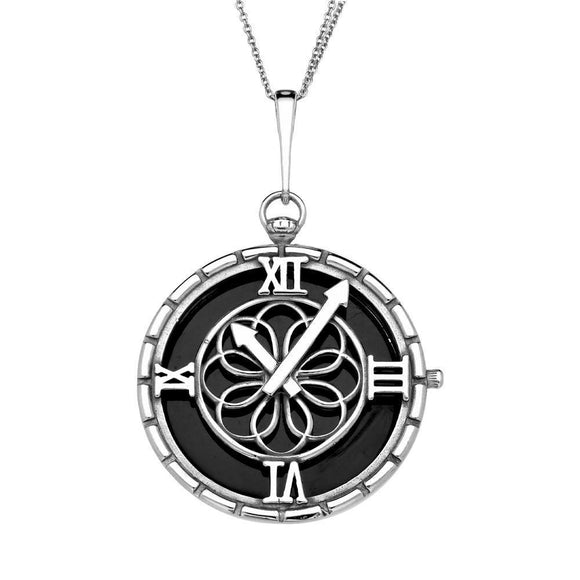 Sterling Silver Whitby Jet Large Round Clock Necklace P3416