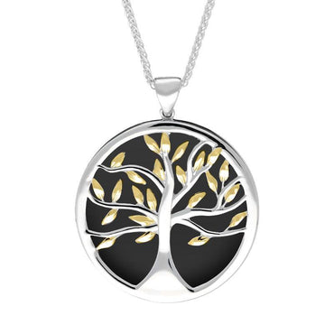 Sterling Silver Yellow Gold Plated Whitby Jet Large Round Tree of Life Necklace P3418