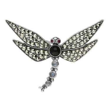 Sterling Silver Whitby Jet Marcasite Garnet Moonstone Brooch M296