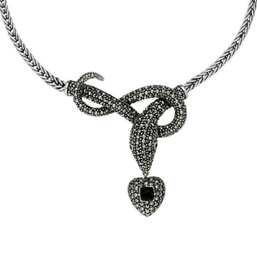 Sterling Silver Whitby Jet Marcasite Garnet Snake Necklace N1050