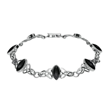 Sterling Silver Whitby Jet Marquise Shaped Celtic Bracelet B594
