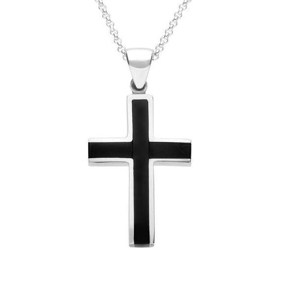 Sterling Silver Whitby Jet Medium Cross Necklace, P535.