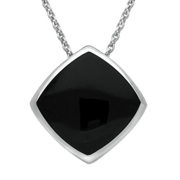 Sterling Silver Whitby Jet Cushion Necklace. P1474.