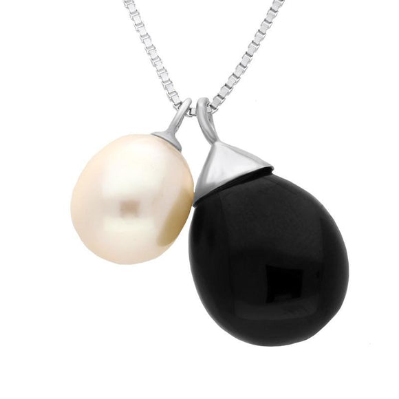 Sterling Silver Whitby Jet Pearl Double Drop Necklace. N918.