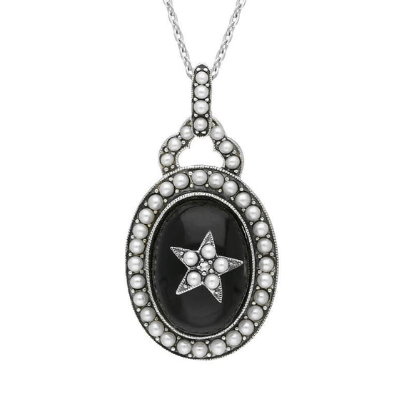 Sterling Silver Whitby Jet Pearl Framed Large Oval Flower Necklace P2219