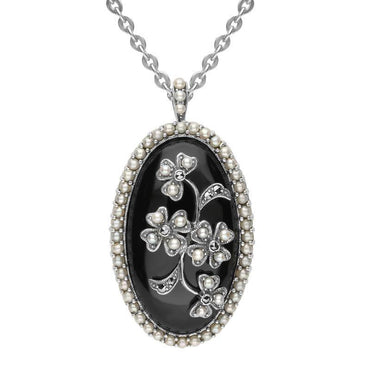 Sterling Silver Whitby Jet Pearl Large Oval Flower Brooch Necklace P2218