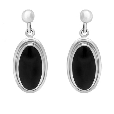 Sterling Silver Whitby Jet Ribbed Oval Drop Earrings E205