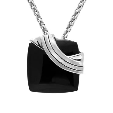 Sterling Silver Whitby Jet Ridged Cushion Necklace. P2604.