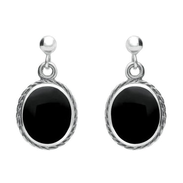 Sterling Silver Whitby Jet Rope Edge Oval Drop Earrings. E010.
