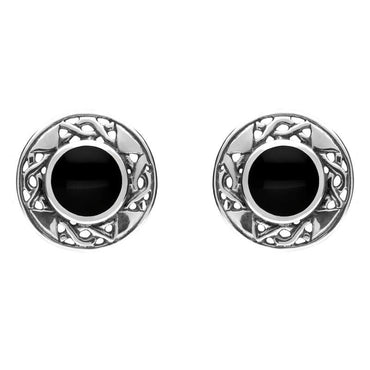 Sterling Silver Whitby Jet Round Celtic Stud Earrings E149