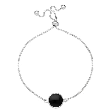 Sterling Silver Whitby Jet Round Stone Adjustable Bracelet, B1142