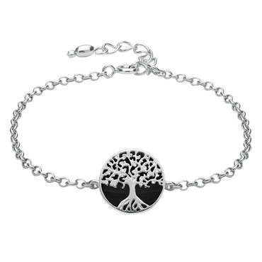 Sterling Silver Whitby Jet Round Tree of Life Chain Bracelet B1140