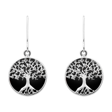 Sterling Silver Whitby Jet Round Tree Drop Earrings, E2429