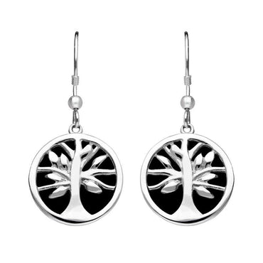 Sterling Silver Whitby Jet Round Tree of Life Drop Earrings E2485