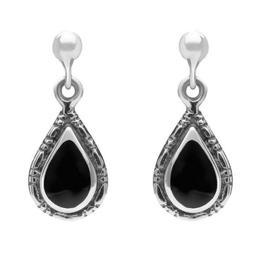 Sterling Silver Whitby Jet Small Pear Drop Earrings E142