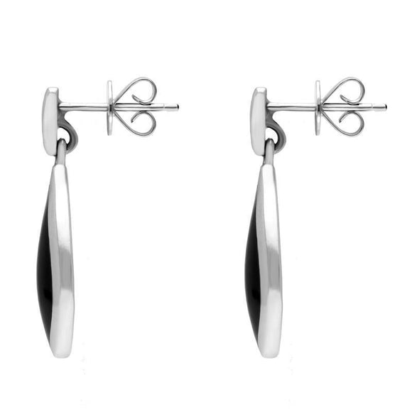 Sterling Silver Whitby Jet Small Pointed Pear Drop Earrings E686