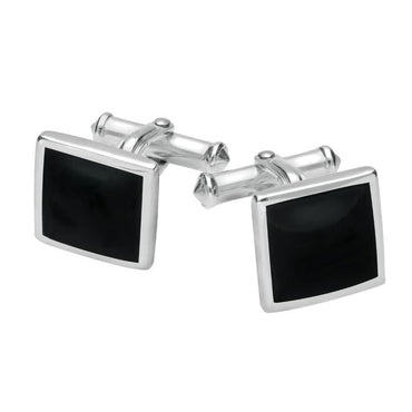 Sterling Silver Whitby Jet Square Flat Cufflinks CL098