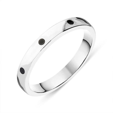 Sterling Silver Whitby Jet 3mm Wedding Band Ring R1197_3