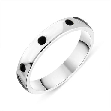 Sterling Silver Whitby Jet 4mm Wedding Band Ring R1197_4