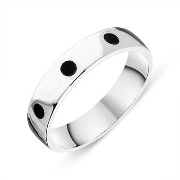 Sterling Silver Whitby Jet 5mm Wedding Band Ring R1197_5
