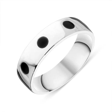 Sterling Silver Whitby Jet 6mm Wedding Band Ring R1197_6
