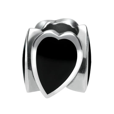 Sterling Silver Whitby Jet Stretched Hearts Charm G510