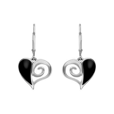 Sterling Silver Whitby Jet Swirl Heart Drop Earrings E1872