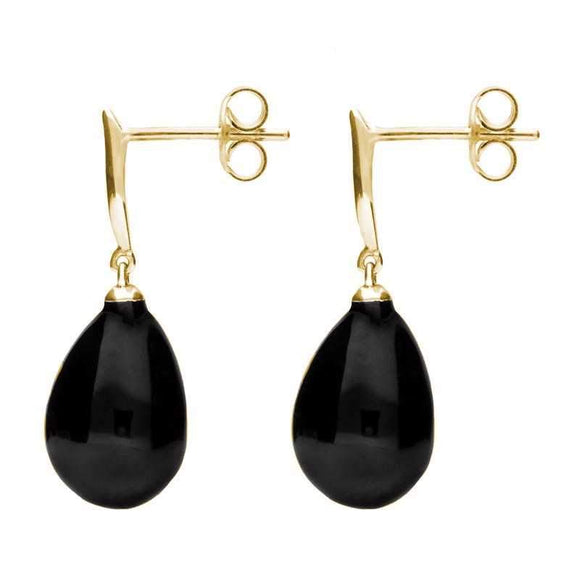 Sterling Silver Whitby Jet Tapered Top Pear Drop Stud Earrings E1487