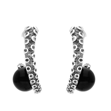 Sterling Silver Whitby Jet Tentacle Hoop Earrings E2462