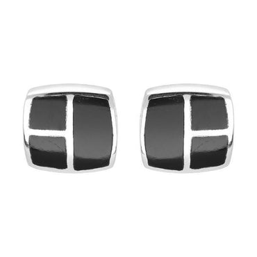 Sterling Silver Whitby Jet Three Stone Square Stud Earrings, E1949.