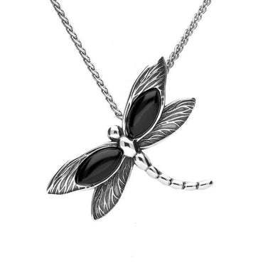 Sterling Silver Whitby Jet Two Marquise Stone Dragonfly Necklace P3366