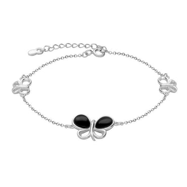 Sterling Silver Whitby Jet Two Stone Butterfly Bracelet B1162