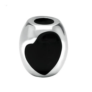 Sterling Silver Whitby Jet Two Stone Large Heart Charm G507