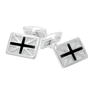 Sterling Silver Whitby Jet Union Jack Cufflinks CL543