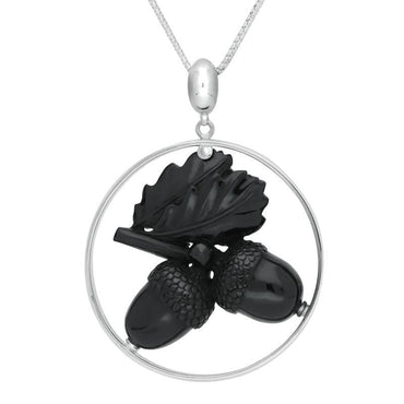 Sterling Silver Whitby Jet Unique Acorn Round Necklace PUNQ0006726