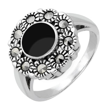 Sterling Silver Whitby Jet Vintage Round Centre Marcasite Ring, R821.