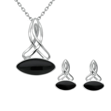Sterling Silver Whitby Jet Wide Marquise Celtic Two Piece Set