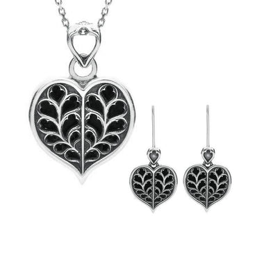 Sterling Silver Whitby Jet York Minster Small Heart Two Piece Set