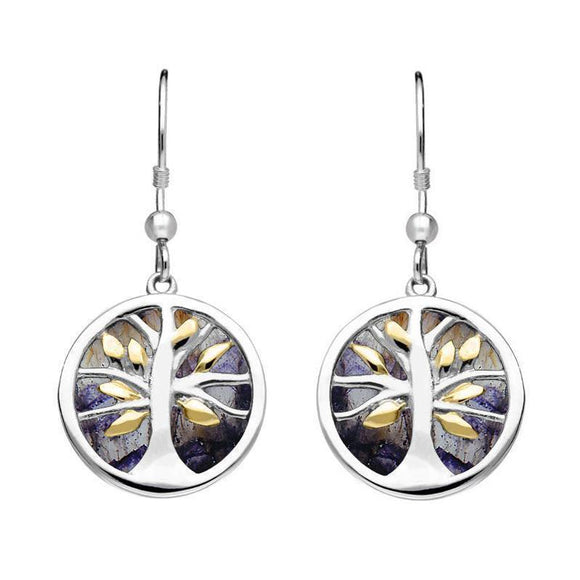 Sterling Silver Gold Plate Blue John Round Tree of Life Drop Earrings E2485