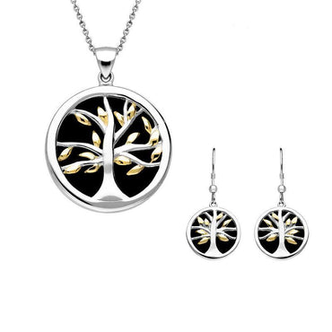 Sterling Silver Yellow Gold Plate Whitby Jet Medium Round Tree of Life Two Piece Set S065