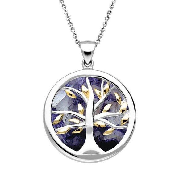 Sterling Silver Gold Plated Blue John Medium Round Tree of Life Necklace P3441