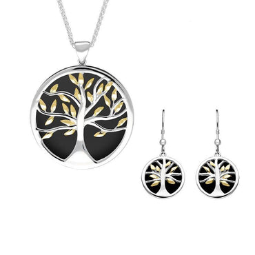 Sterling Silver Yellow Gold Plated Whitby Jet Large Round Tree of Life Two Piece Set