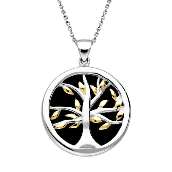 Sterling Silver Gold Plated Whitby Jet Medium Round Tree of Life Necklace P3441