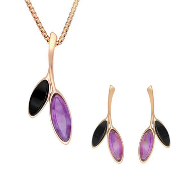 Rose Gold Whitby Jet Amethyst Two Leaf  Two Piece Set, S077