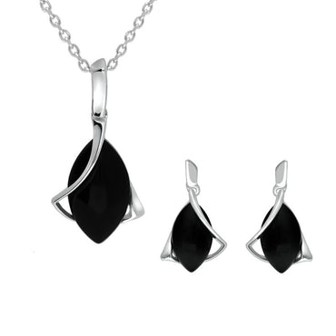 Sterling Silver Whitby Jet Marquise Open twist Edge Two Piece Set