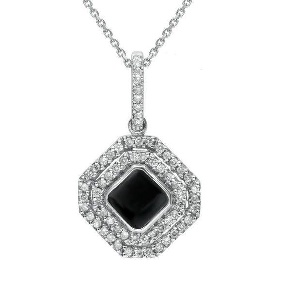 W Hamond 18ct White Gold Whitby Jet 0.34ct Diamond Double Row Octogon Shaped Necklace, P1551C.