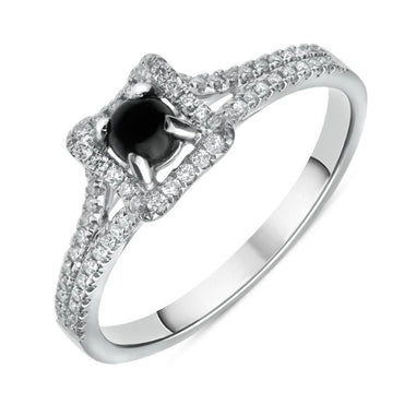 18ct White Gold Whitby Jet Diamond Claw Set Centre Ring R888