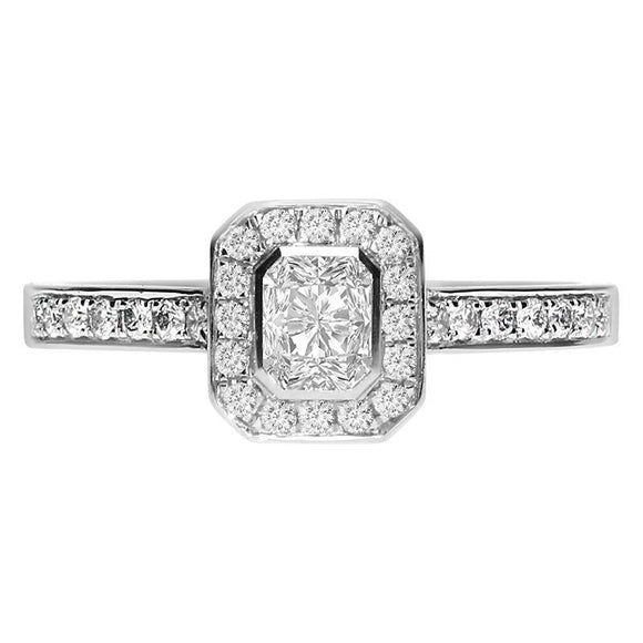 Platinum 0.66ct Diamond Emerald Cut Halo Ring FEU-1499